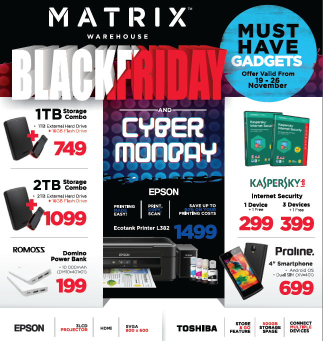 Matrix Warehouse: Black Friday and Cyber Monday Promotions