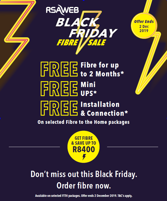 RSAWEB: Black Friday Fibre Sale