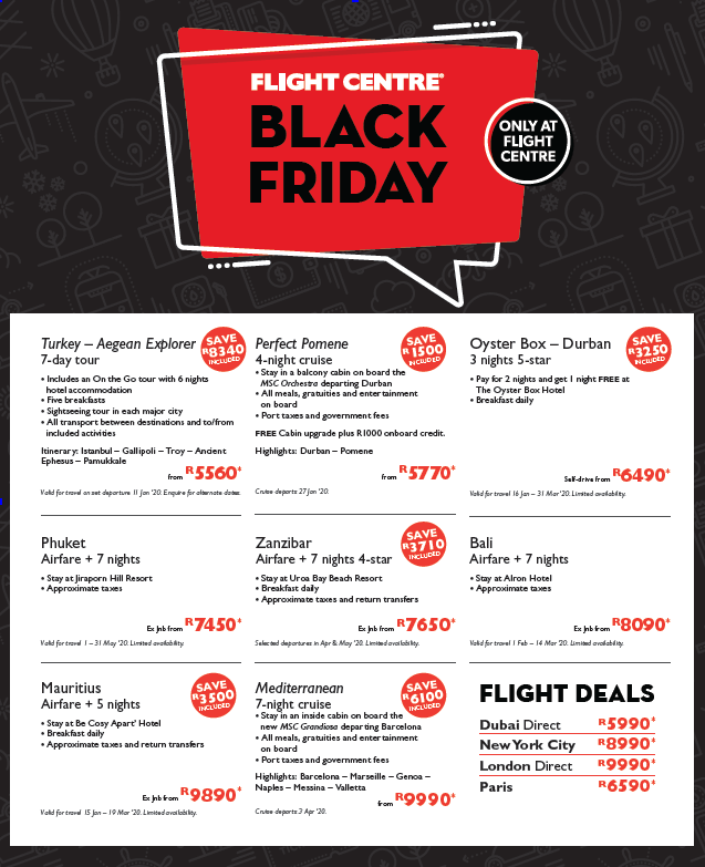 Flight Centre: Black Friday Promotions